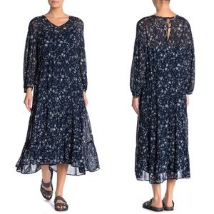 New Free People Blue Wallflower Midi Dress